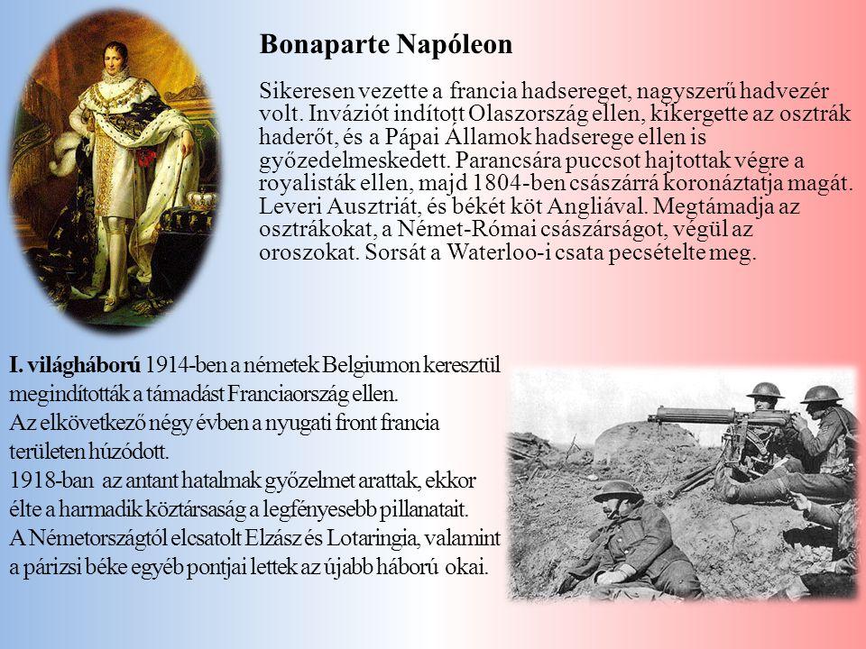 Bonaparte Napóleon Sikeresen vezette a francia hadsereget, nagyszerű hadvezér volt. Inváziót indított Olaszország ellen, kikergette az osztrák haderőt