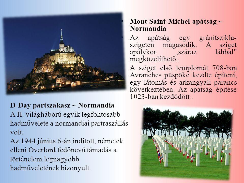 """• Mont Saint-Michel apátság ~ Normandia • Az apátság egy gránitszikla- szigeten magasodik. A sziget apálykor """"száraz lábbal"""" megközelíthető. • A szige"""