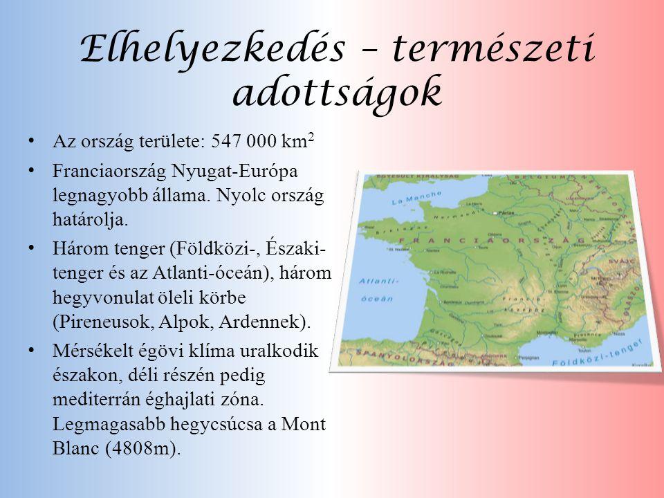Elhelyezkedés – természeti adottságok • Az ország területe: 547 000 km 2 • Franciaország Nyugat-Európa legnagyobb állama. Nyolc ország határolja. • Há