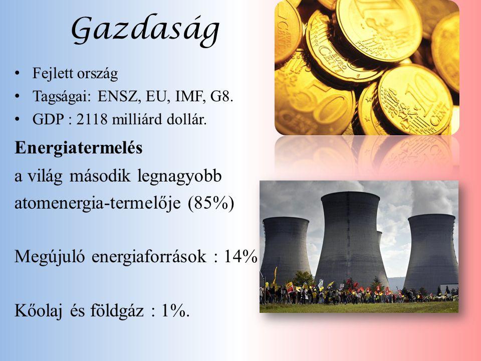 Gazdaság • Fejlett ország • Tagságai: ENSZ, EU, IMF, G8. • GDP : 2118 milliárd dollár. Energiatermelés a világ második legnagyobb atomenergia-termelőj