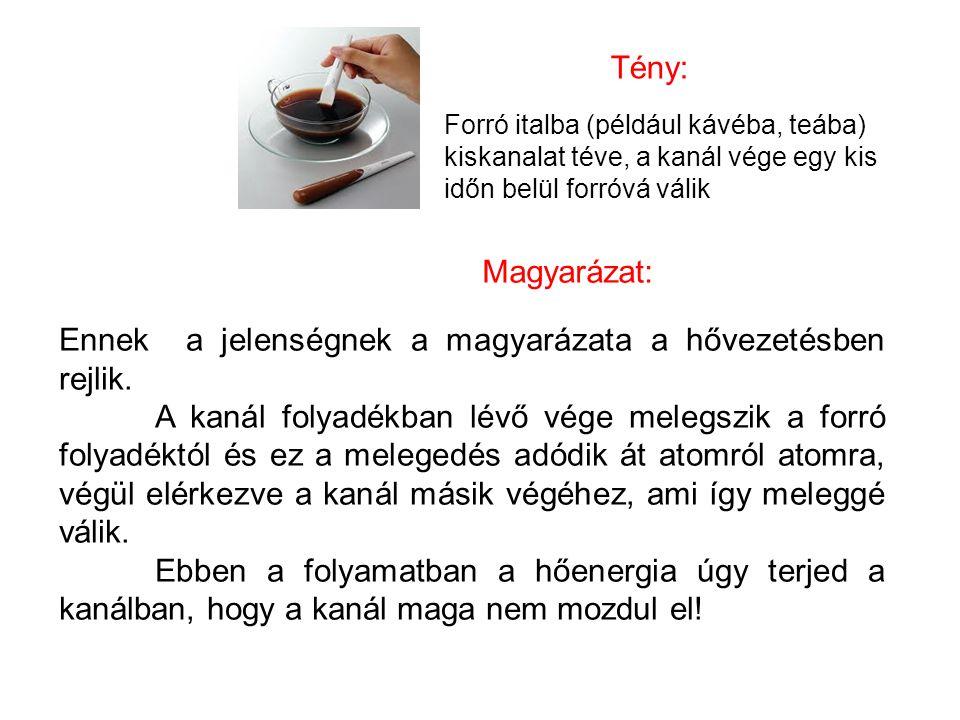 Tény: Forró italba (például kávéba, teába) kiskanalat téve, a kanál vége egy kis időn belül forróvá válik Magyarázat: Ennek a jelenségnek a magyarázat