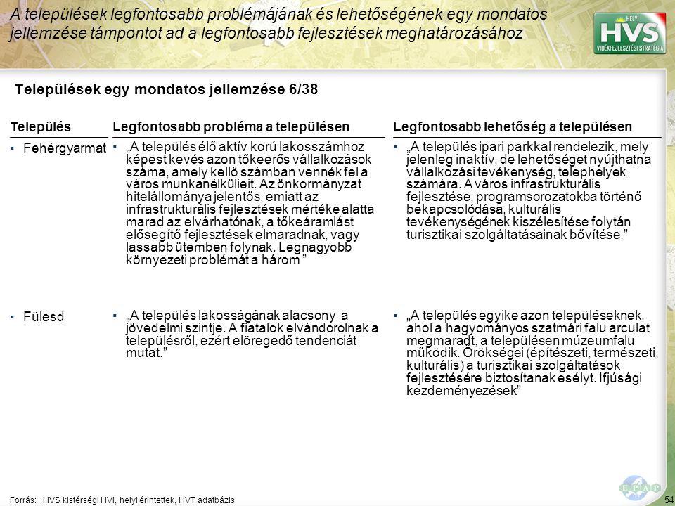 """54 Települések egy mondatos jellemzése 6/38 A települések legfontosabb problémájának és lehetőségének egy mondatos jellemzése támpontot ad a legfontosabb fejlesztések meghatározásához Forrás:HVS kistérségi HVI, helyi érintettek, HVT adatbázis TelepülésLegfontosabb probléma a településen ▪Fehérgyarmat ▪""""A település élő aktív korú lakosszámhoz képest kevés azon tőkeerős vállalkozások száma, amely kellő számban vennék fel a város munkanélkülieit."""