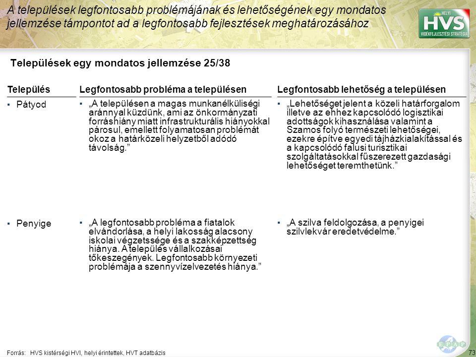 """73 Települések egy mondatos jellemzése 25/38 A települések legfontosabb problémájának és lehetőségének egy mondatos jellemzése támpontot ad a legfontosabb fejlesztések meghatározásához Forrás:HVS kistérségi HVI, helyi érintettek, HVT adatbázis TelepülésLegfontosabb probléma a településen ▪Pátyod ▪""""A településen a magas munkanélküliségi aránnyal küzdünk, ami az önkormányzati forráshiány miatt infrastrukturális hiányokkal párosul, emellett folyamatosan problémát okoz a határközeli helyzetből adódó távolság. ▪Penyige ▪""""A legfontosabb probléma a fiatalok elvándorlása, a helyi lakosság alacsony iskolai végzetssége és a szakképzettség hiánya."""