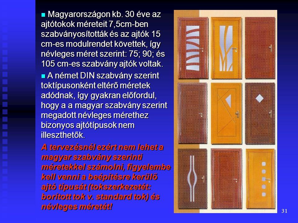 30 Az ajtók két jellemző alapmérete: 1) szabad nyílásméret: tokbelméret 1) beépítési helyszükséglet: névleges méret A jelenlegi magyar előírás szerint az ajtótokok méreteit egységesen 7,5 cm-nek kell tekinteni, ezért vízszintes irányban: tokbelméret + 15 cm = = névleges méret A rajzokon a névleges méretet kell jelölni.