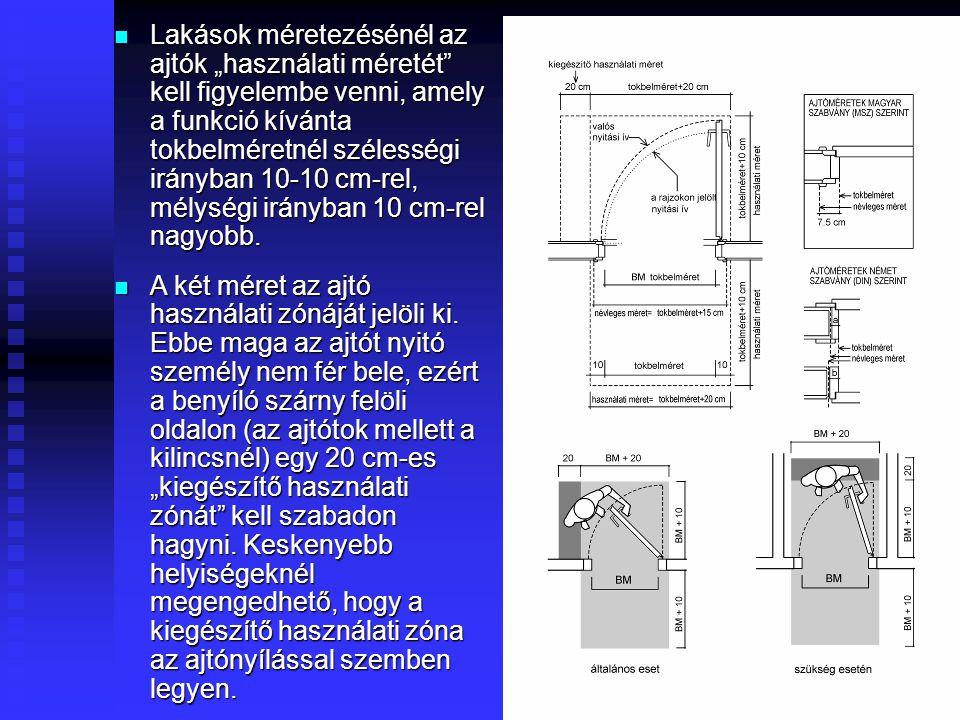 31  Magyarországon kb. 30 éve az ajtótokok méreteit 7,5cm-ben szabványosították és az ajtók 15 cm-es modulrendet követtek, így névleges méret szerint
