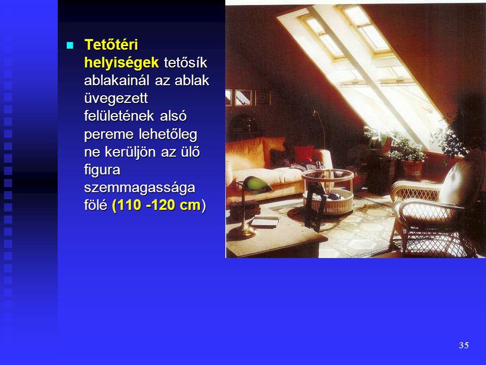 34 Ablakok elhelyezése  Ablakok alapfunkcuója: bevilágítás + szellőzés  A jó megvilágítást igénylő lakástevékenységek helyét az ablakok közelében ke