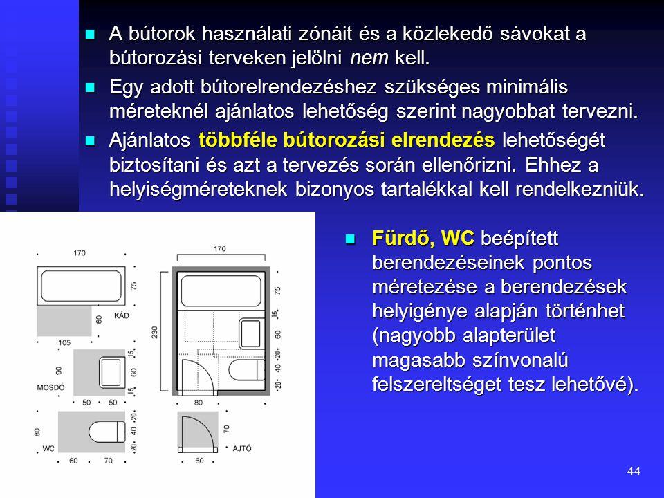 43 Helyiségméret meghatározása bútorozás alapján  Egy lakástér (helyiség) rendeltetésszerű használatához szükséges bútorok, bútorcsoportok bútorzónái és közlekedő sávok méretei valamint az ajtók használati zónái, ablakok helyzete alapján lehet a helyiségek legkisebb alaprajzi méreteit kijelölni, illetve ellenőrizni.