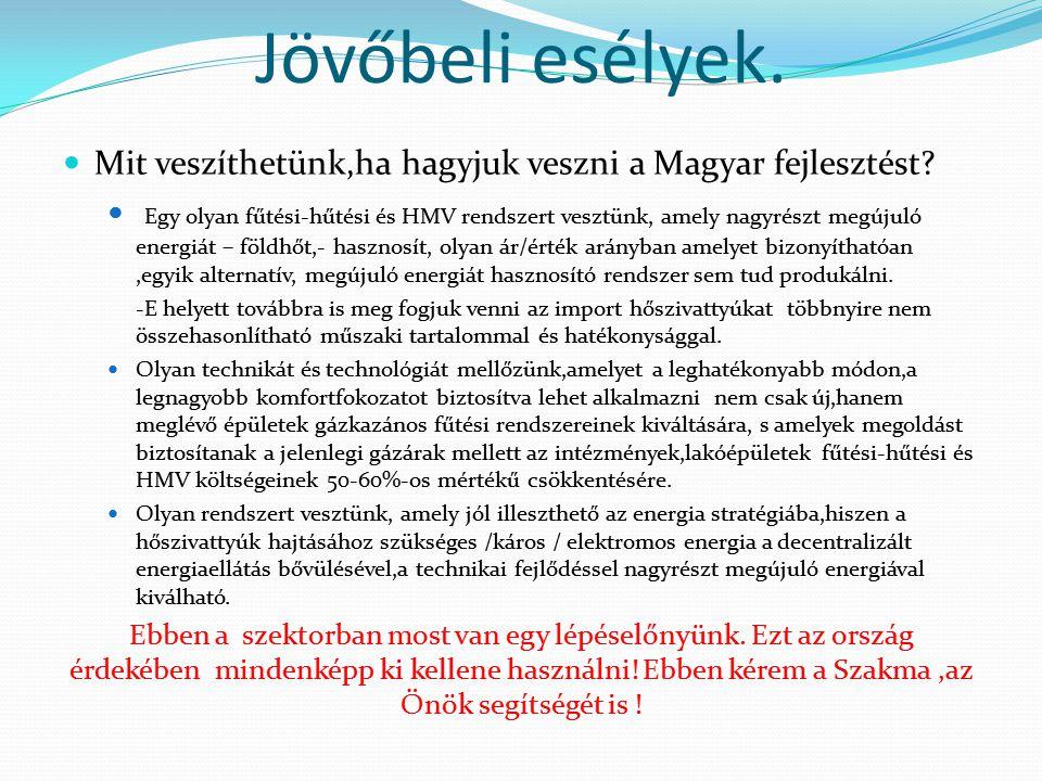 Jövőbeli esélyek.  Mit veszíthetünk,ha hagyjuk veszni a Magyar fejlesztést?  Egy olyan fűtési-hűtési és HMV rendszert vesztünk, amely nagyrészt megú