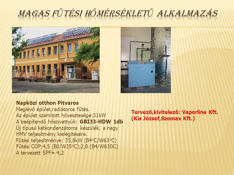 Napközi otthon Pitvaros Meglévő épület,radiátoros fűtés. Az épület számított hővesztesége:31kW A beépítendő hőszivattyúk: GBI33-HDW 1db Új típusú kétk