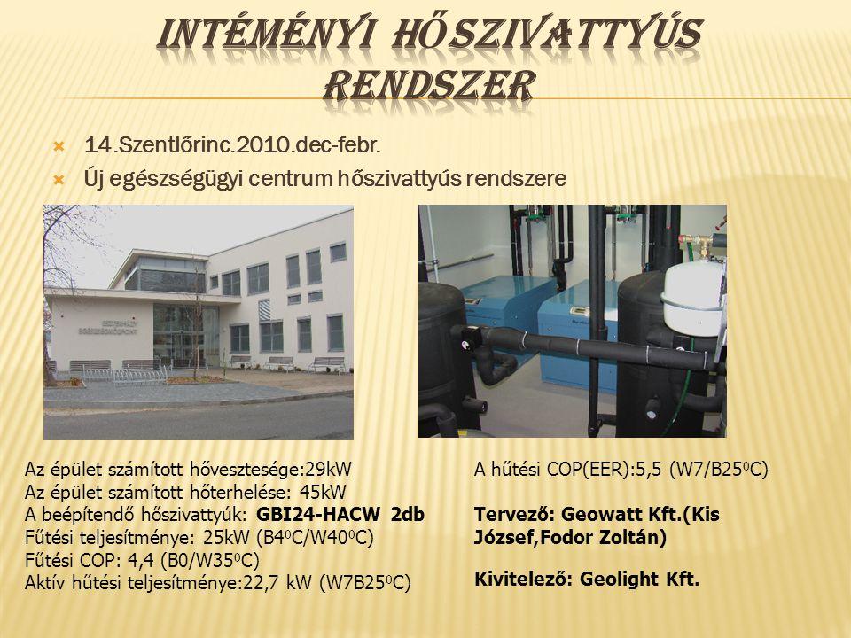 14.Szentlőrinc.2010.dec-febr.  Új egészségügyi centrum hőszivattyús rendszere Az épület számított hővesztesége:29kW Az épület számított hőterhelése
