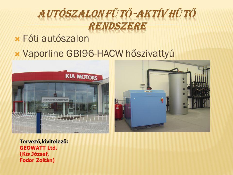  Fóti autószalon  Vaporline GBI96-HACW hőszivattyú Tervező,kivitelező: GEOWATT Ltd. (Kis József, Fodor Zoltán)