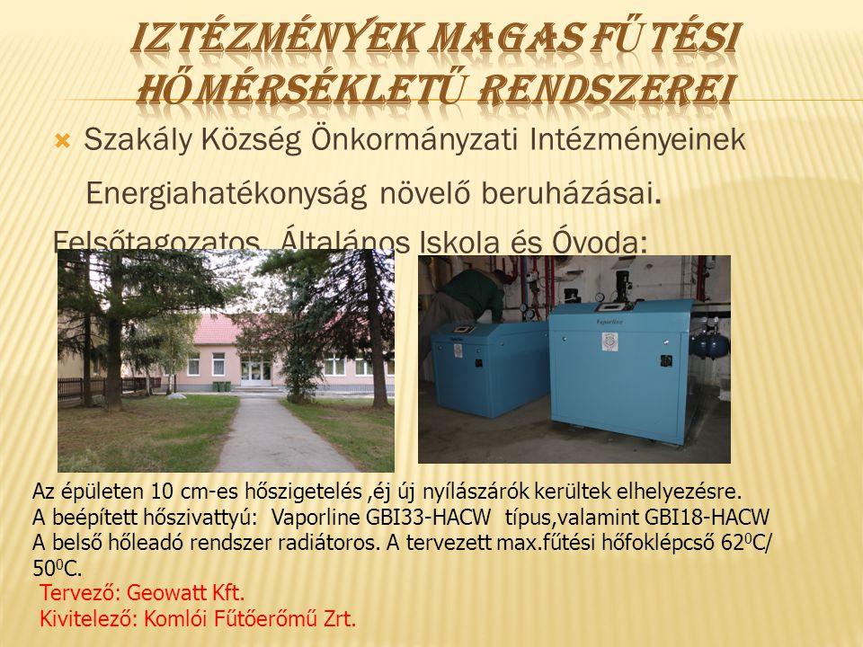  Szakály Község Önkormányzati Intézményeinek Energiahatékonyság növelő beruházásai. Felsőtagozatos Általános Iskola és Óvoda: Az épületen 10 cm-es hő