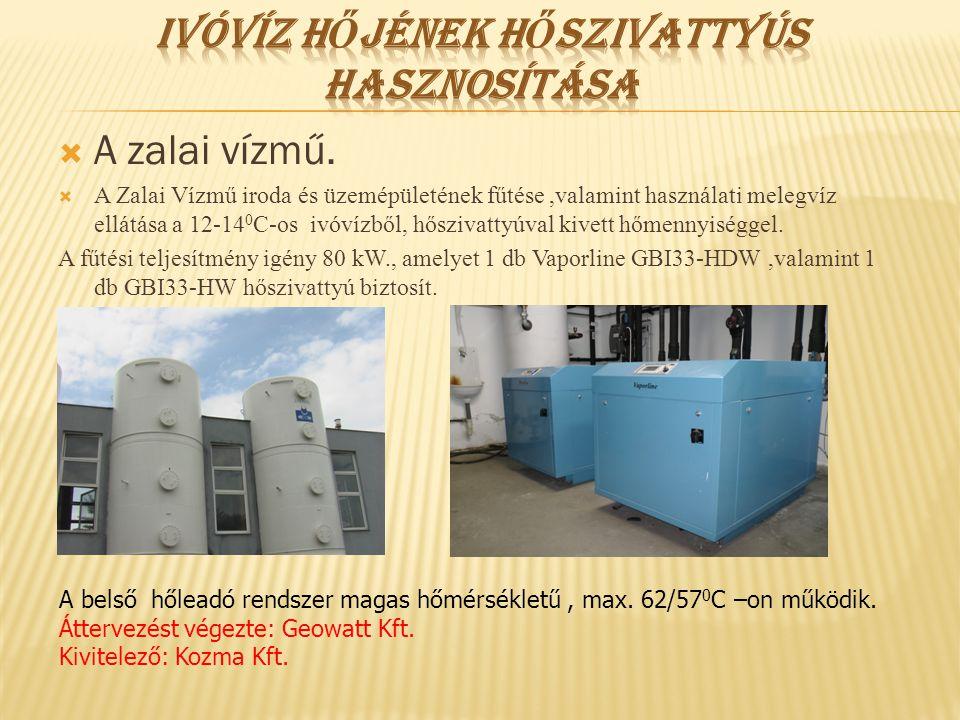  A zalai vízmű.  A Zalai Vízmű iroda és üzemépületének fűtése,valamint használati melegvíz ellátása a 12-14 0 C-os ivóvízből, hőszivattyúval kivett