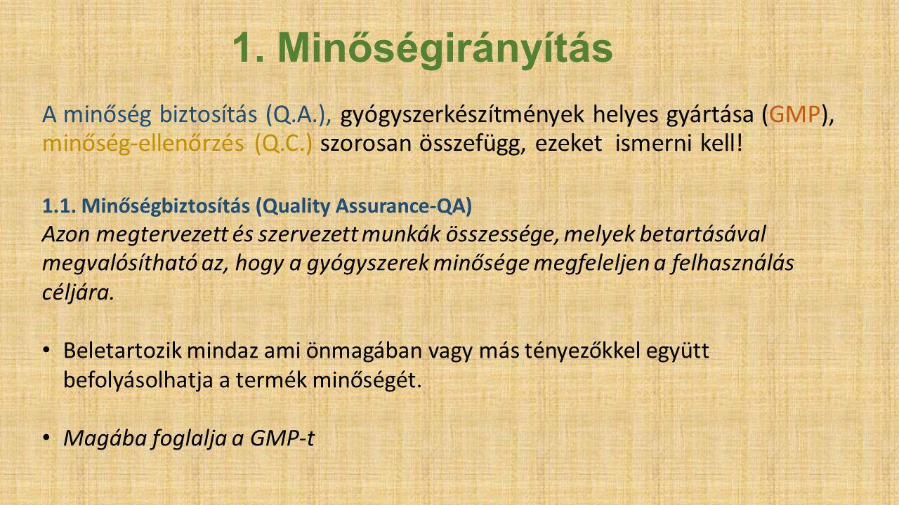A minőség biztosítás (Q.A.), gyógyszerkészítmények helyes gyártása (GMP), minőség-ellenőrzés (Q.C.) szorosan összefügg, ezeket ismerni kell! 1. Minősé