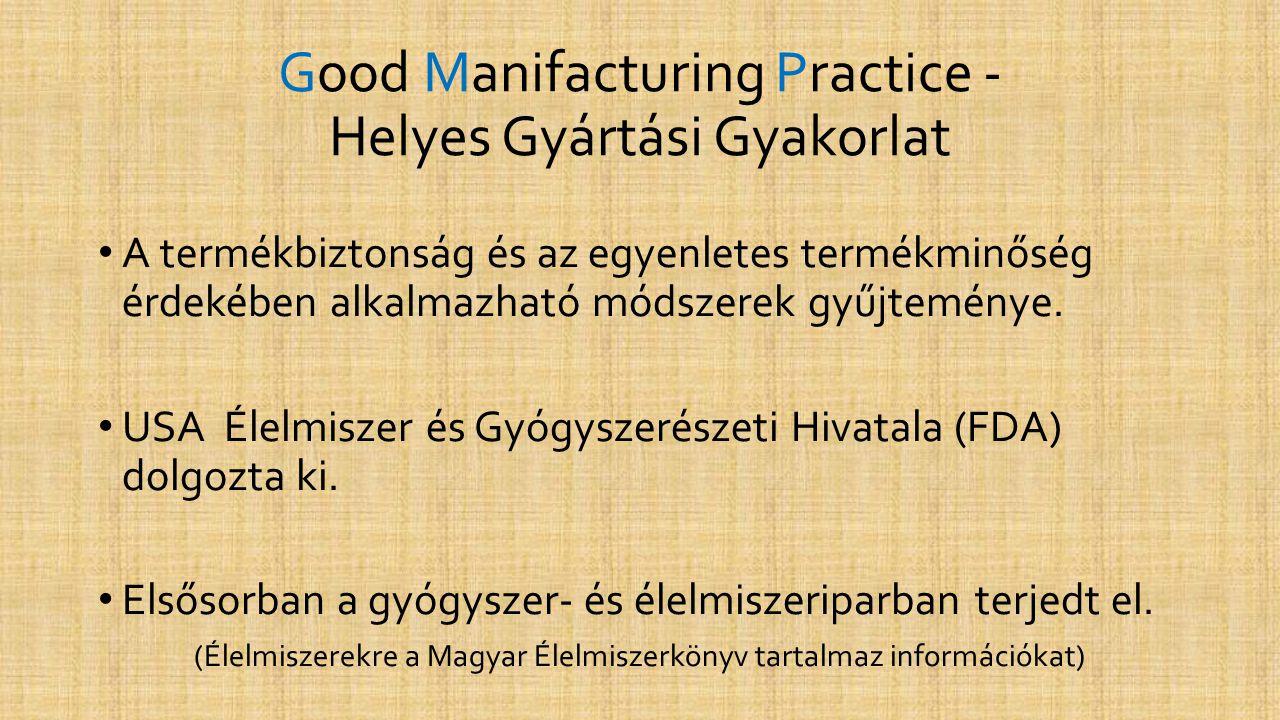 Good Manifacturing Practice - Helyes Gyártási Gyakorlat • A termékbiztonság és az egyenletes termékminőség érdekében alkalmazható módszerek gyűjtemény