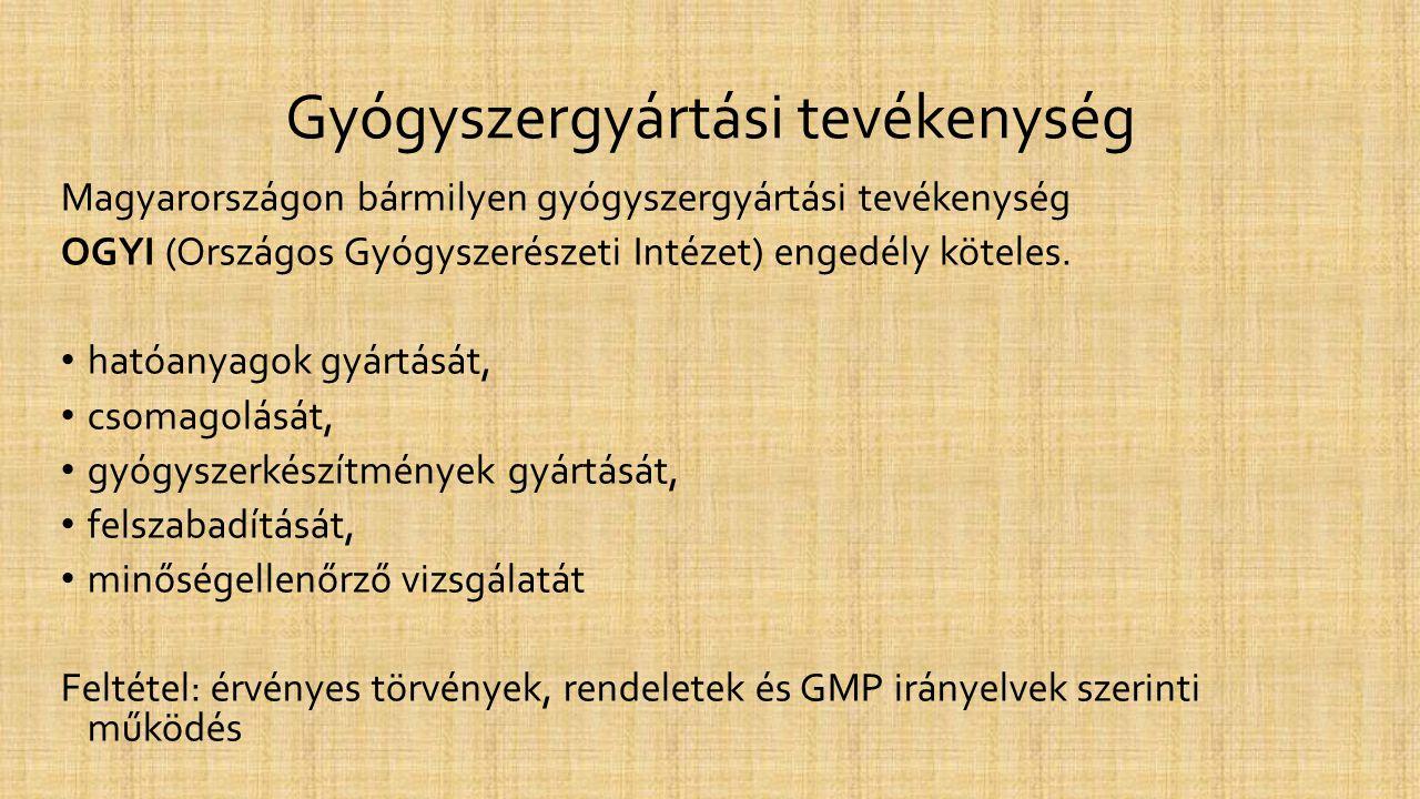 Gyógyszergyártási tevékenység Magyarországon bármilyen gyógyszergyártási tevékenység OGYI (Országos Gyógyszerészeti Intézet) engedély köteles. • hatóa