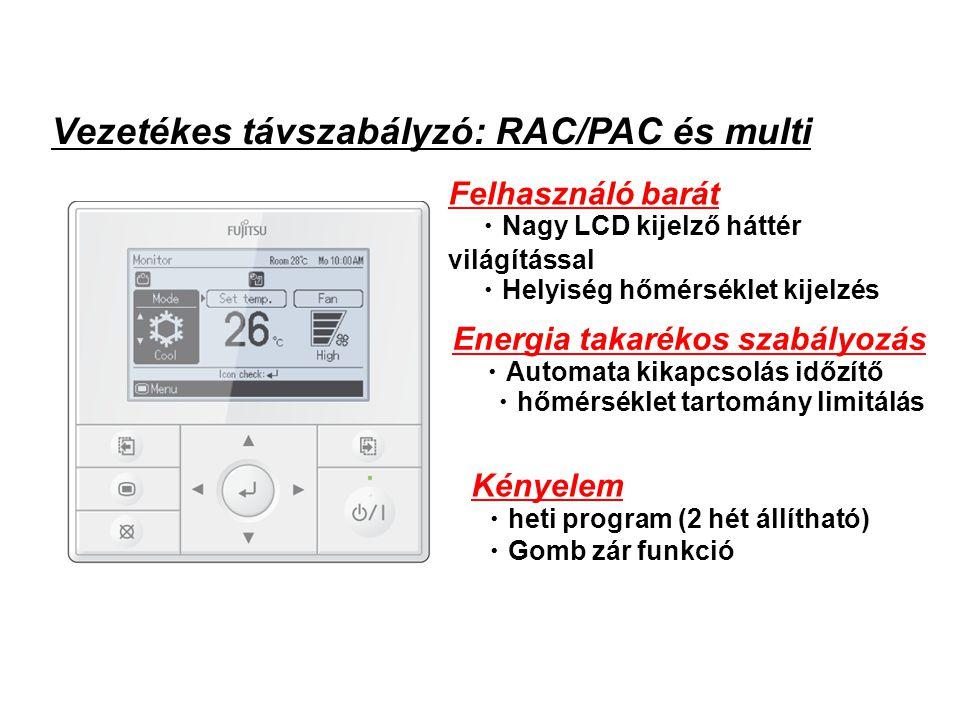 Felhasználó barát ・ Nagy LCD kijelző háttér világítással ・ Helyiség hőmérséklet kijelzés Energia takarékos szabályozás ・ Automata kikapcsolás időzítő ・ hőmérséklet tartomány limitálás Kényelem ・ heti program (2 hét állítható) ・ Gomb zár funkció (1) Features Vezetékes távszabályzó: RAC/PAC és multi