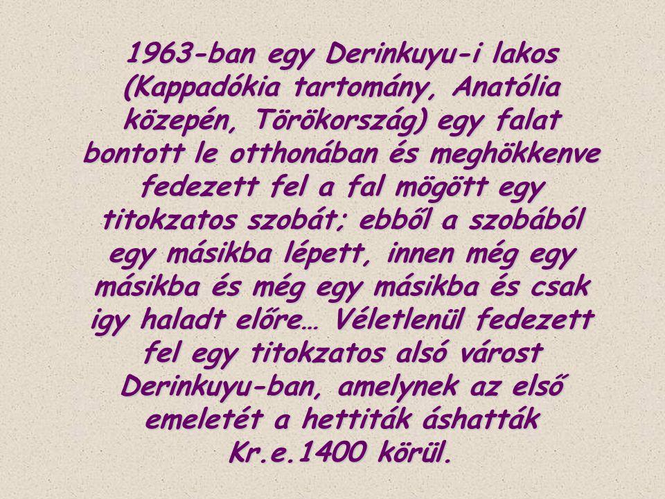 1963-ban egy Derinkuyu-i lakos (Kappadókia tartomány, Anatólia közepén, Törökország) egy falat bontott le otthonában és meghökkenve fedezett fel a fal