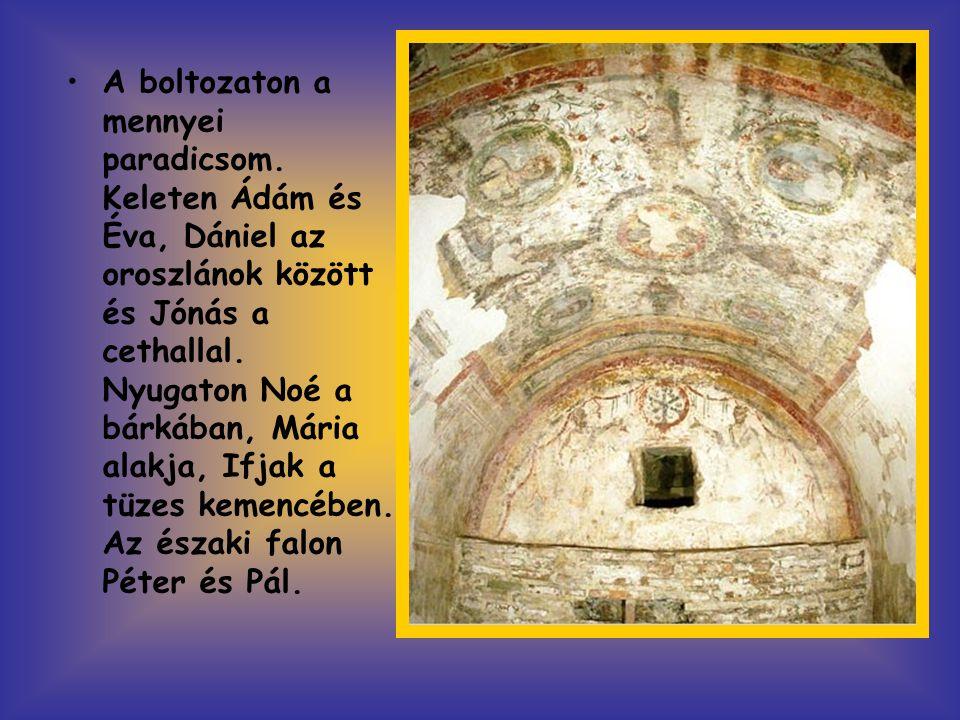 •A boltozaton a mennyei paradicsom. Keleten Ádám és Éva, Dániel az oroszlánok között és Jónás a cethallal. Nyugaton Noé a bárkában, Mária alakja, Ifja