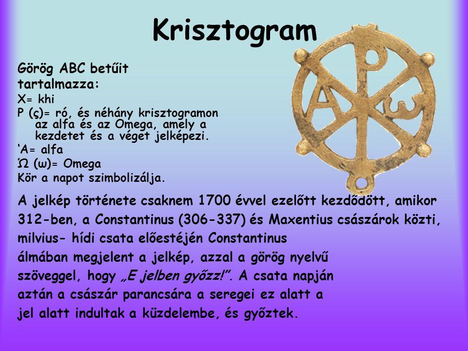 Krisztogram Görög ABC betűit tartalmazza: X= khi P (ς)= ró, és néhány krisztogramon az alfa és az Omega, amely a kezdetet és a véget jelképezi. 'A= al