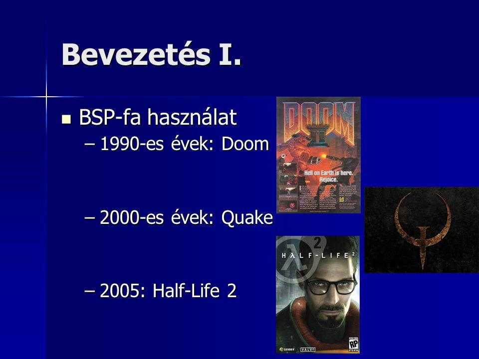Bevezetés I.  BSP-fa használat –1990-es évek: Doom –2000-es évek: Quake –2005: Half-Life 2