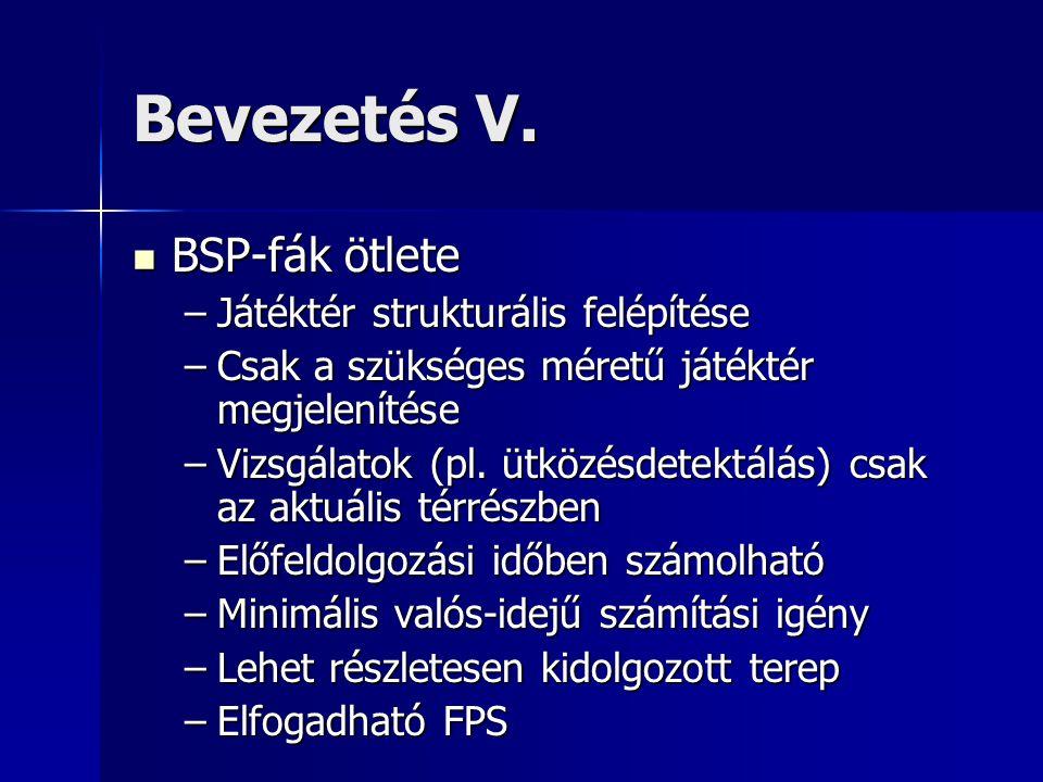 Bevezetés V.  BSP-fák ötlete –Játéktér strukturális felépítése –Csak a szükséges méretű játéktér megjelenítése –Vizsgálatok (pl. ütközésdetektálás) c