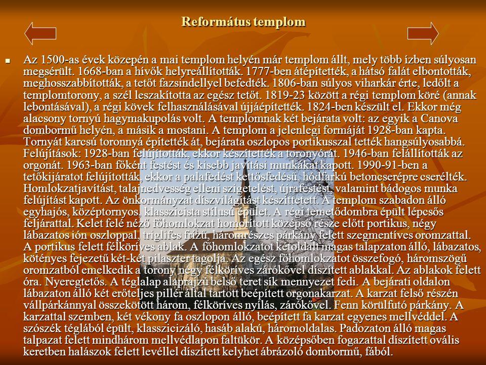 Nepomuki Szent János Római Katolikus Kápolna  A Teleki kiskastélyokkal szemben található kápolnát 1777-ben Ürményi Bernát Gyömrői földesúr építtette
