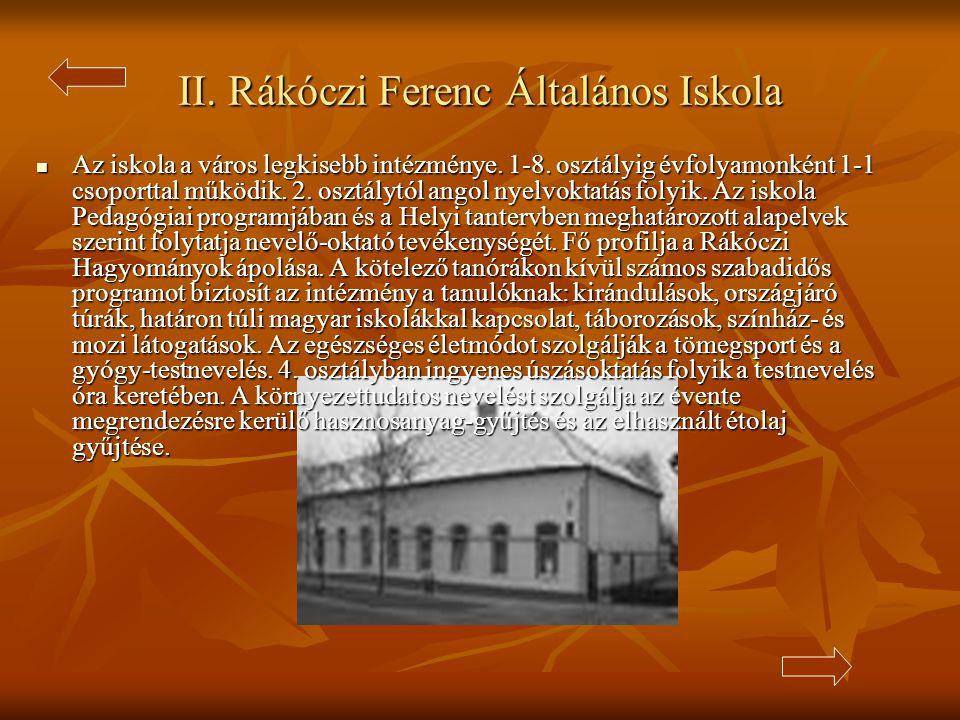 II.Rákóczi Ferenc Általános Iskola  Az iskola a város legkisebb intézménye.