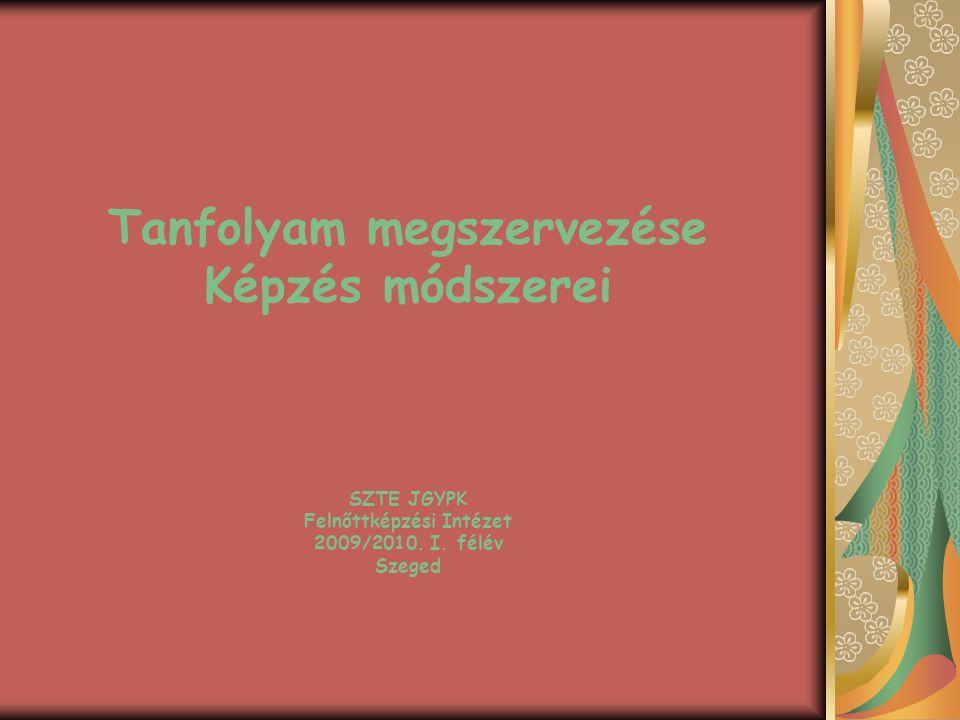 Tanfolyam megszervezése Képzés módszerei SZTE JGYPK Felnőttképzési Intézet 2009/2010. I. félév Szeged