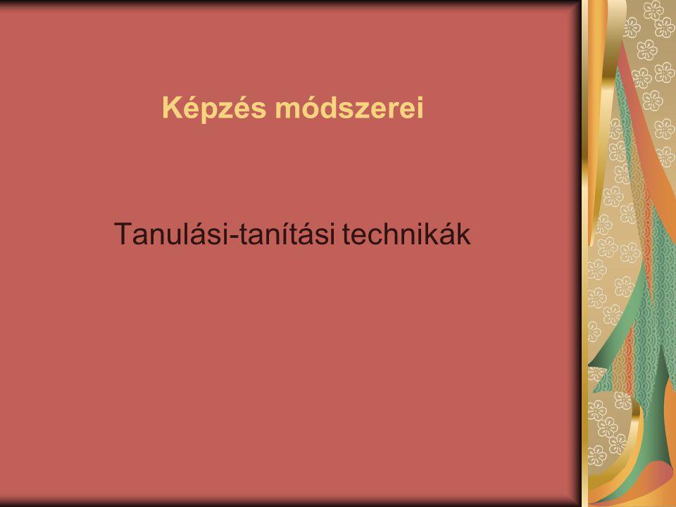 Képzés módszerei Tanulási-tanítási technikák