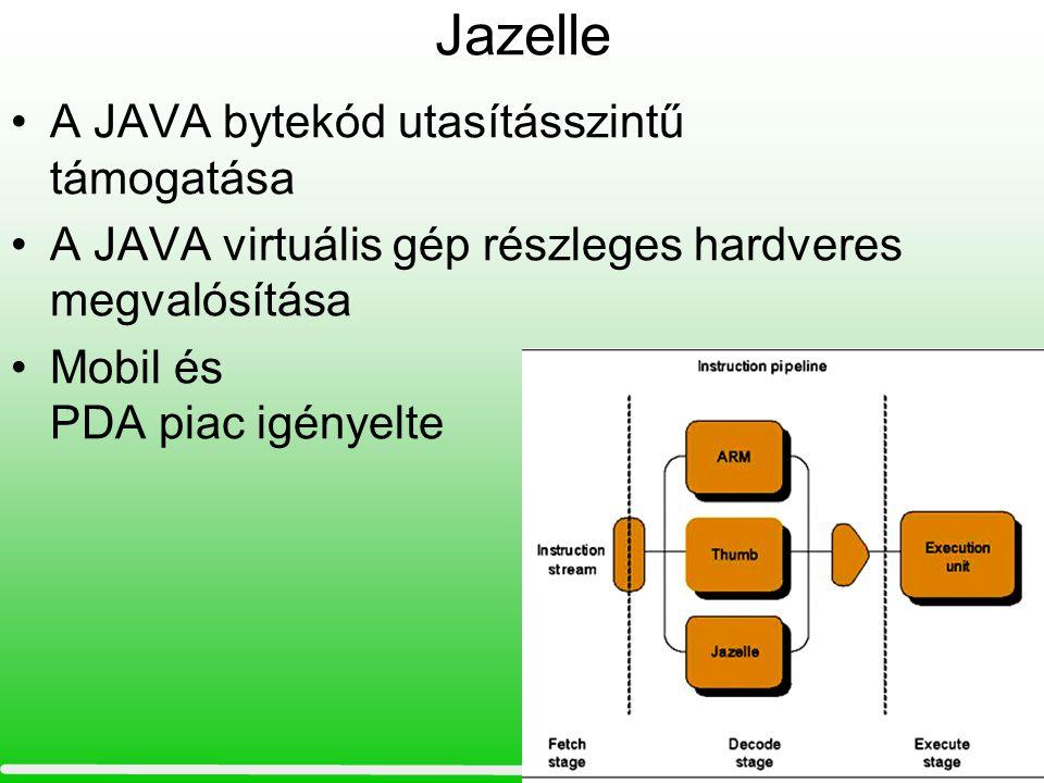 Jazelle •A JAVA bytekód utasításszintű támogatása •A JAVA virtuális gép részleges hardveres megvalósítása •Mobil és PDA piac igényelte