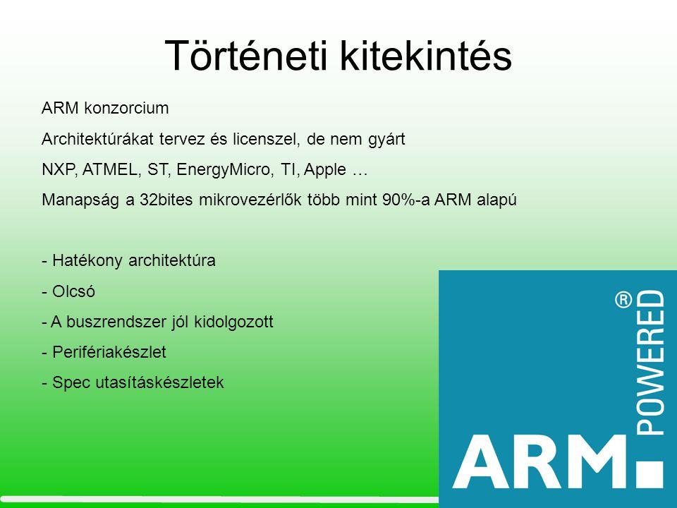 Az ARM architektúra •RISC tulajdonságok –Load/store architektúra –Csak szóhatárhoz illeszkedő(aligned) memória hozzáférés –Ortogonális utasítások (minden címzési mód egységes) –Nagy (31x31 bit) regiszterblokkok –Egyszerű 32 bites utasítások –1 utasítás 1 órajelperiódus (pipeline)