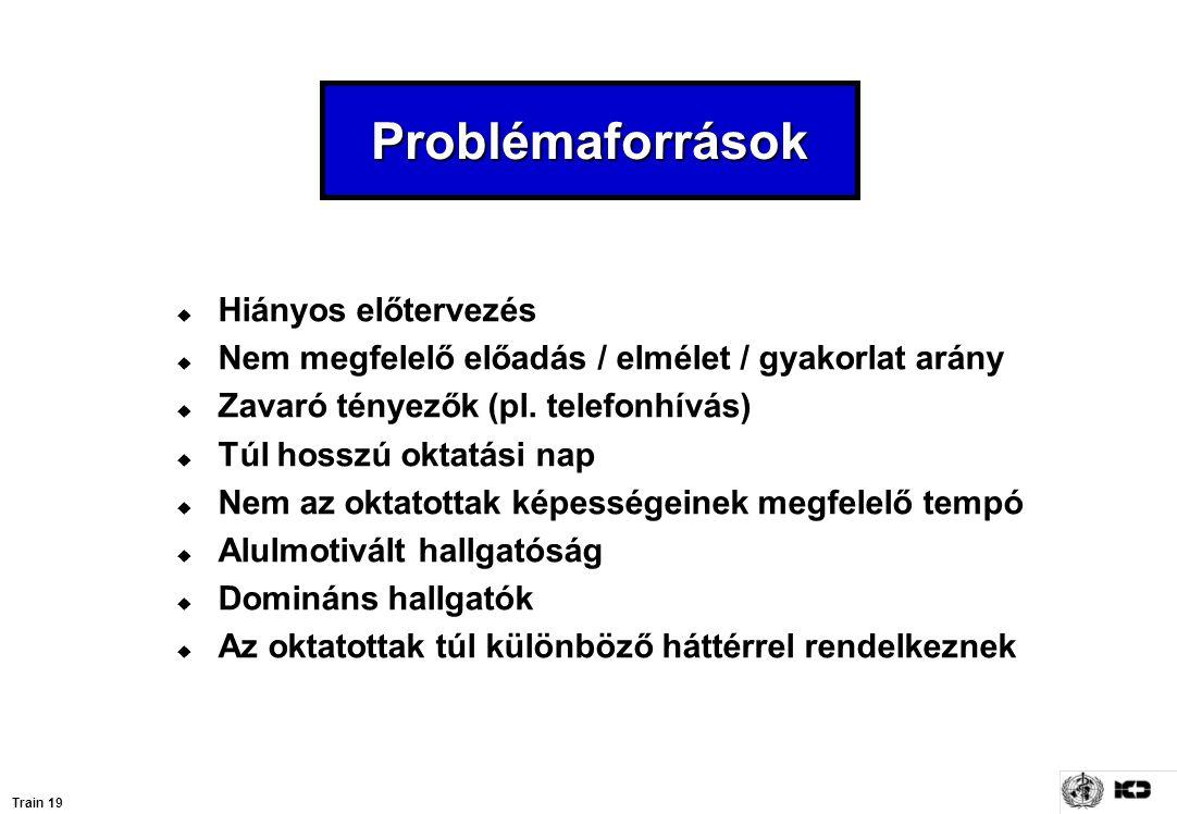Problémaforrások  Hiányos előtervezés  Nem megfelelő előadás / elmélet / gyakorlat arány  Zavaró tényezők (pl. telefonhívás)  Túl hosszú oktatási