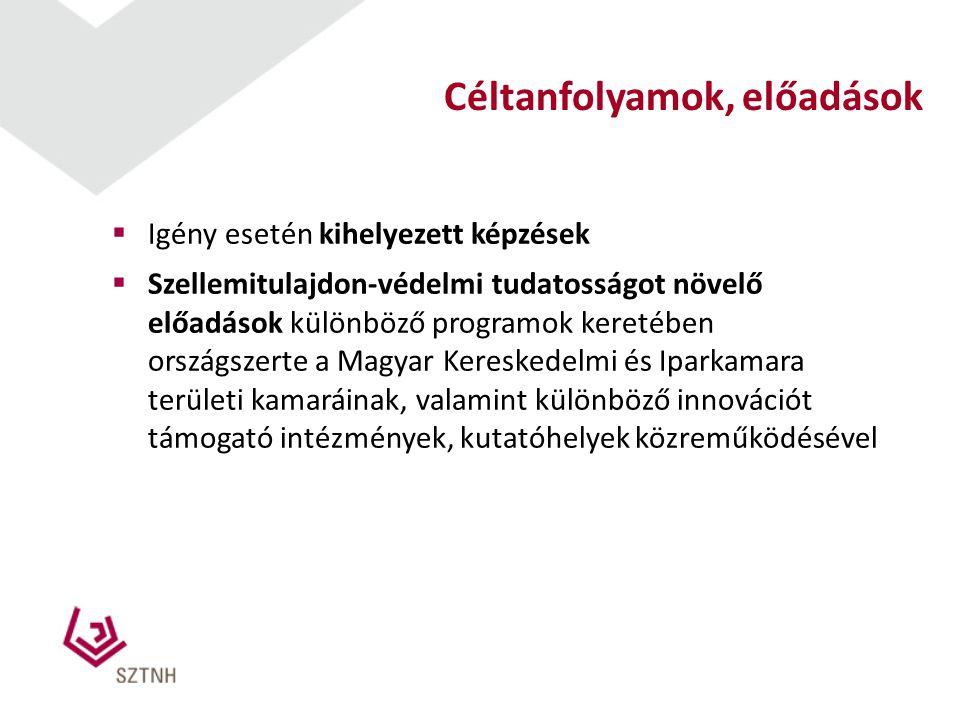  Igény esetén kihelyezett képzések  Szellemitulajdon-védelmi tudatosságot növelő előadások különböző programok keretében országszerte a Magyar Keres