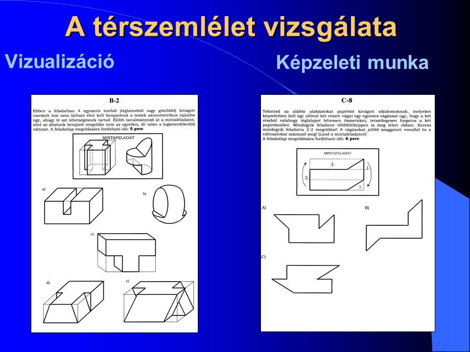 A térszemlélet vizsgálata Vizualizáció Képzeleti munka