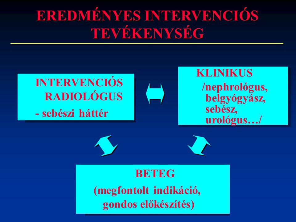 INTERVENCIÓS RADIOLÓGUS - sebészi háttér BETEG (megfontolt indikáció, gondos előkészítés) KLINIKUS /nephrológus, belgyógyász, sebész, urológus…/ EREDM
