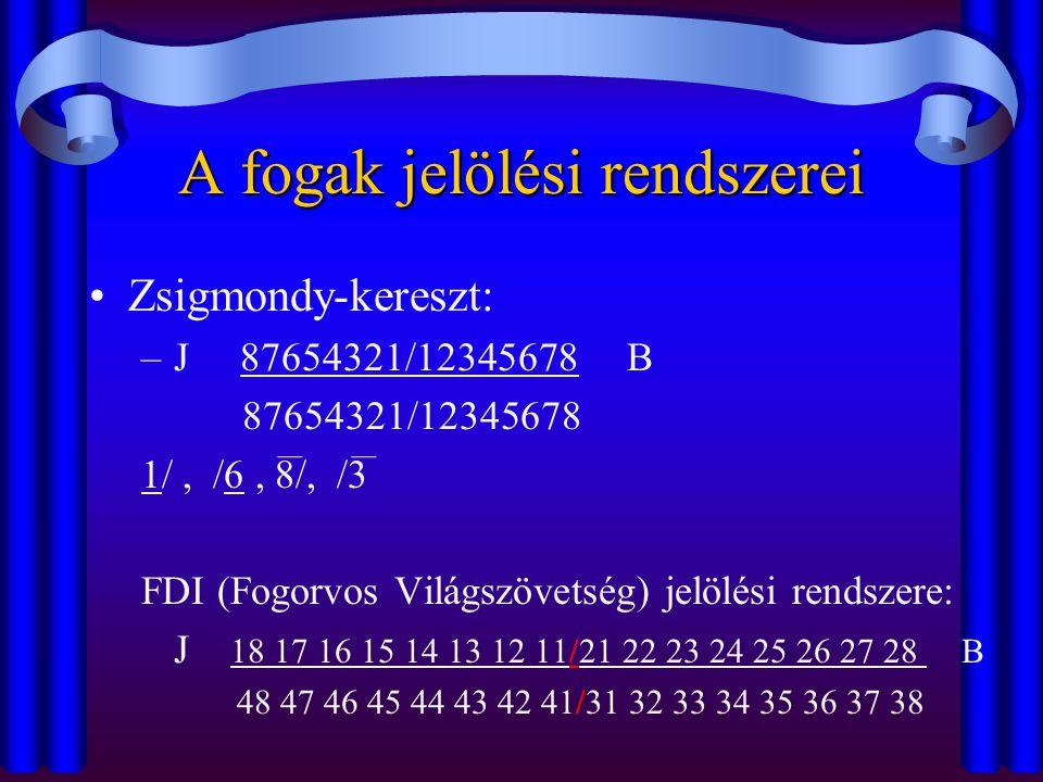 A fogak jelölési rendszerei •Zsigmondy-kereszt: –J 87654321/12345678 B 87654321/12345678 1/, /6, 8/, /3 FDI (Fogorvos Világszövetség) jelölési rendsze