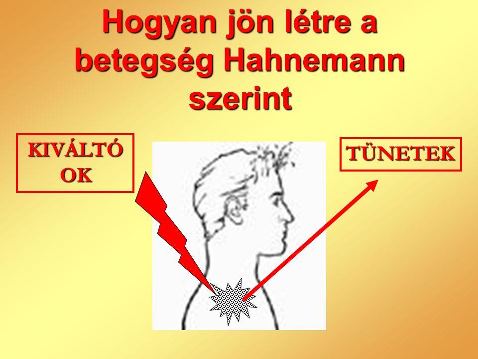 A betegség Hahnemann szerint •Az életerő zavara.•A szervezet tünetekkel jelzi a baj természetét.