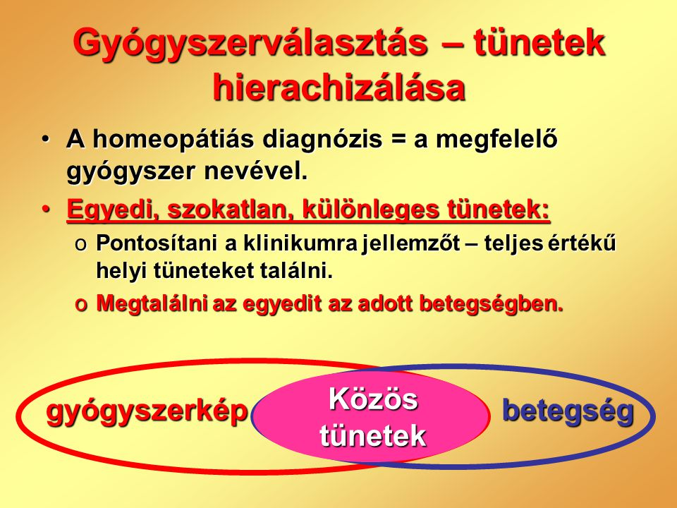 Gyógyszerválasztás – tünetek hierachizálása •A homeopátiás diagnózis = a megfelelő gyógyszer nevével. •Egyedi, szokatlan, különleges tünetek: oPontosí