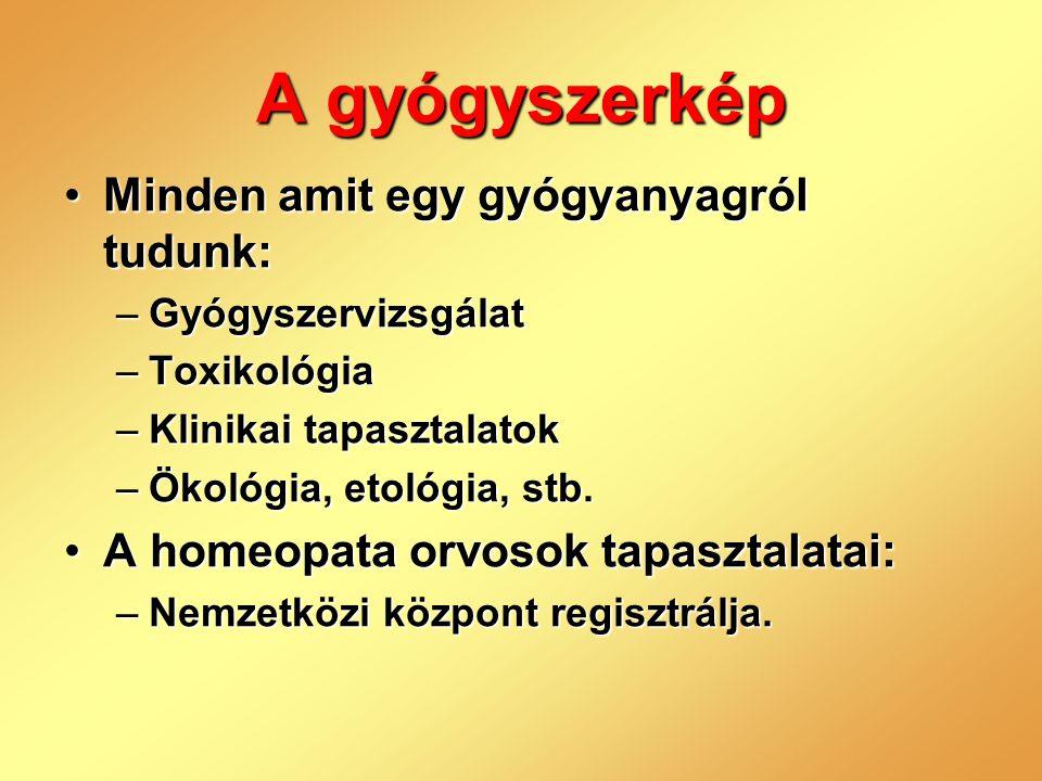 A gyógyszerkép •Minden amit egy gyógyanyagról tudunk: –Gyógyszervizsgálat –Toxikológia –Klinikai tapasztalatok –Ökológia, etológia, stb. •A homeopata
