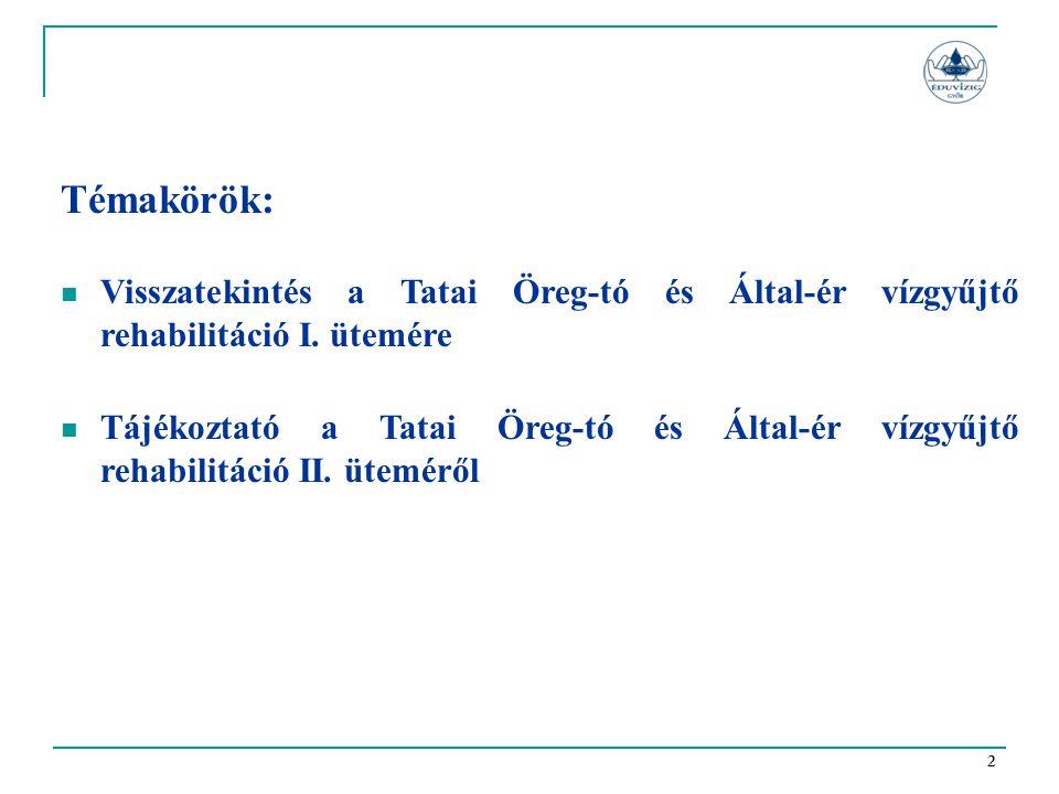 2 Témakörök:  Visszatekintés a Tatai Öreg-tó és Által-ér vízgyűjtő rehabilitáció I. ütemére  Tájékoztató a Tatai Öreg-tó és Által-ér vízgyűjtő rehab