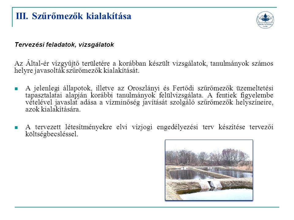 Tervezési feladatok, vizsgálatok Az Által-ér vízgyűjtő területére a korábban készült vizsgálatok, tanulmányok számos helyre javasolták szűrőmezők kial