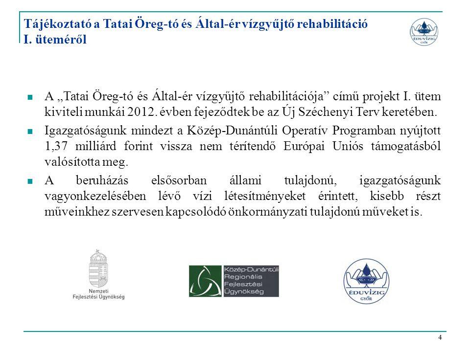 """4 Tájékoztató a Tatai Öreg-tó és Által-ér vízgyűjtő rehabilitáció I. üteméről  A """"Tatai Öreg-tó és Által-ér vízgyűjtő rehabilitációja"""" című projekt I"""