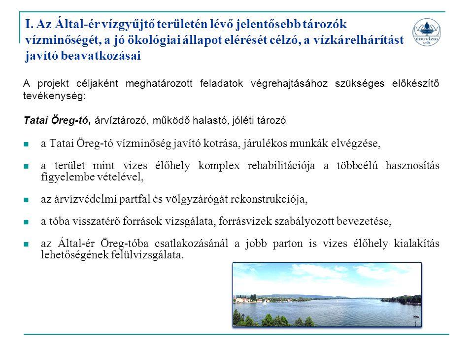I. Az Által-ér vízgyűjtő területén lévő jelentősebb tározók vízminőségét, a jó ökológiai állapot elérését célzó, a vízkárelhárítást javító beavatkozás