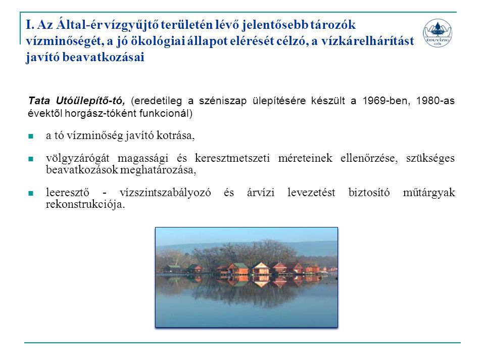 Tata Utóülepítő-tó, (eredetileg a széniszap ülepítésére készült a 1969-ben, 1980-as évektől horgász-tóként funkcionál)  a tó vízminőség javító kotrás