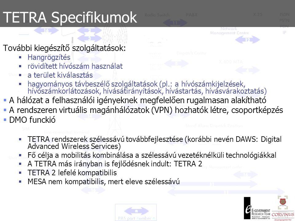 TETRA lényeges kiegészítő szolgáltatások Diszpécser által feljogosított hívás A diszpécser hitelesíti a hívási igényt, mielőtt megengedné a hívás kialakítását Terület kiválasztásMeghatározott működési területek felhasználók számára.