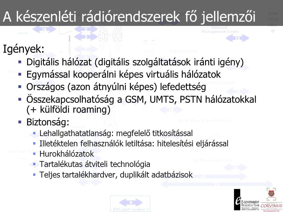 A készenléti rádiórendszerek fő jellemzői Előzmények:  90-es évek: zártláncú készenléti rádiós távközlési rendszerek egyre kevésbé felenek meg a funkcionális követelményeknek  Nincs határmenti kooperáció (nincs roaming)  Lokális hálózatok  Frekvenciák megteltek (a felhasználható technikákkal)  Adatátvitel lehetősége nem állt fent  Az analóg hálózatok fenntartása költséges és problematikus  A hálózatok között nincs átjárhatóság (kompatibilitás) – minden szervezet maga tartotta fent rendszerét  Adatbiztonság, adatvédelem minimális