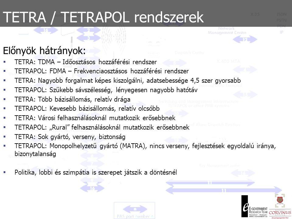 TETRA / TETRAPOL rendszerek  NATO és EU is mindkét rendszert megfelelőnek minősítette  Interoperabilitási követelmény  Megvalósítási mód jelentősége