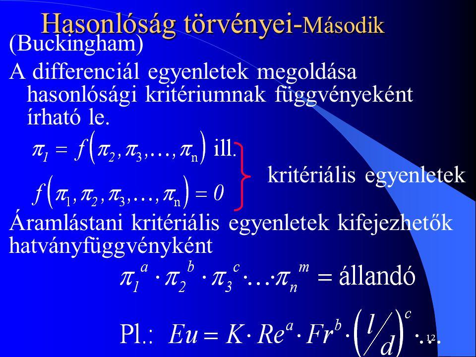 12 Hasonlóság törvényei- Második (Buckingham) A differenciál egyenletek megoldása hasonlósági kritériumnak függvényeként írható le. kritériális egyenl