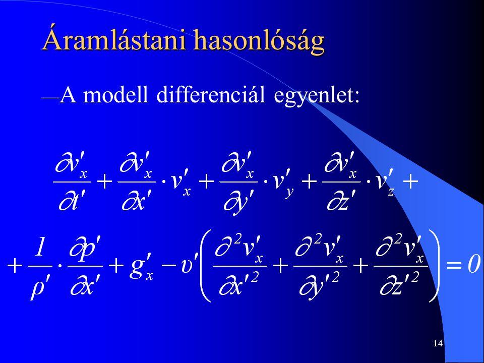 14 Áramlástani hasonlóság — A modell differenciál egyenlet: